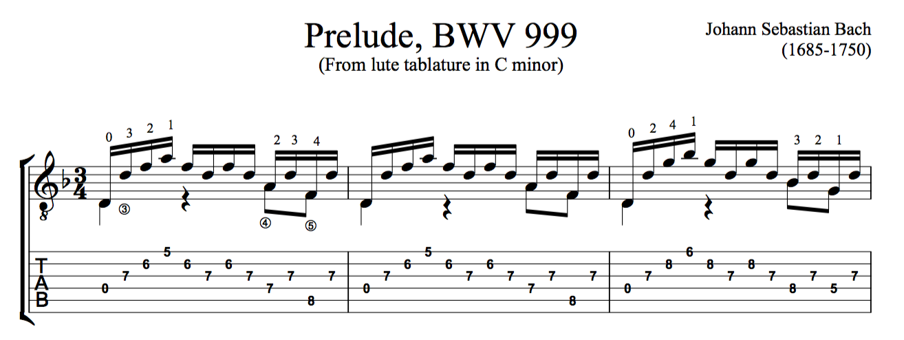 Guitar bach cello suite 1 guitar sheet music : Prelude in D minor, BWV 999 by Bach (Free PDF or TAB) | this is ...