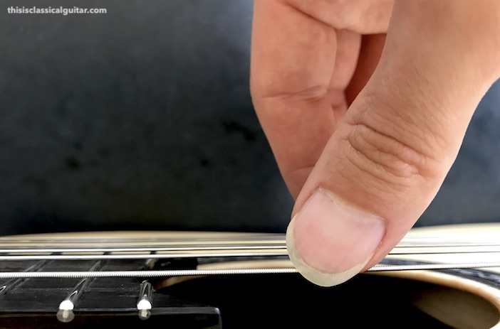 Nail Contact on String for Classical Guitar - Thumbnail