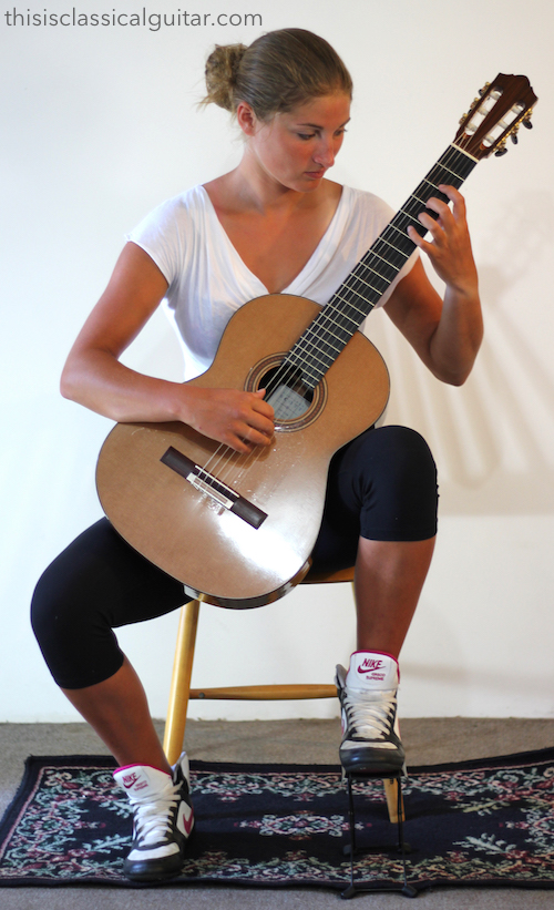 Sitting Position for Classical Guitar with Guitar Support - Diagram