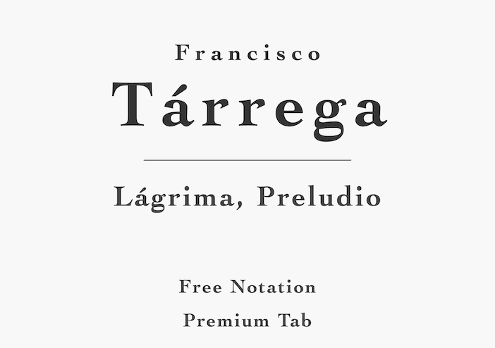 Lágrima by Tárrega - Free Sheet Music or Tab PDF for Classical Guitar