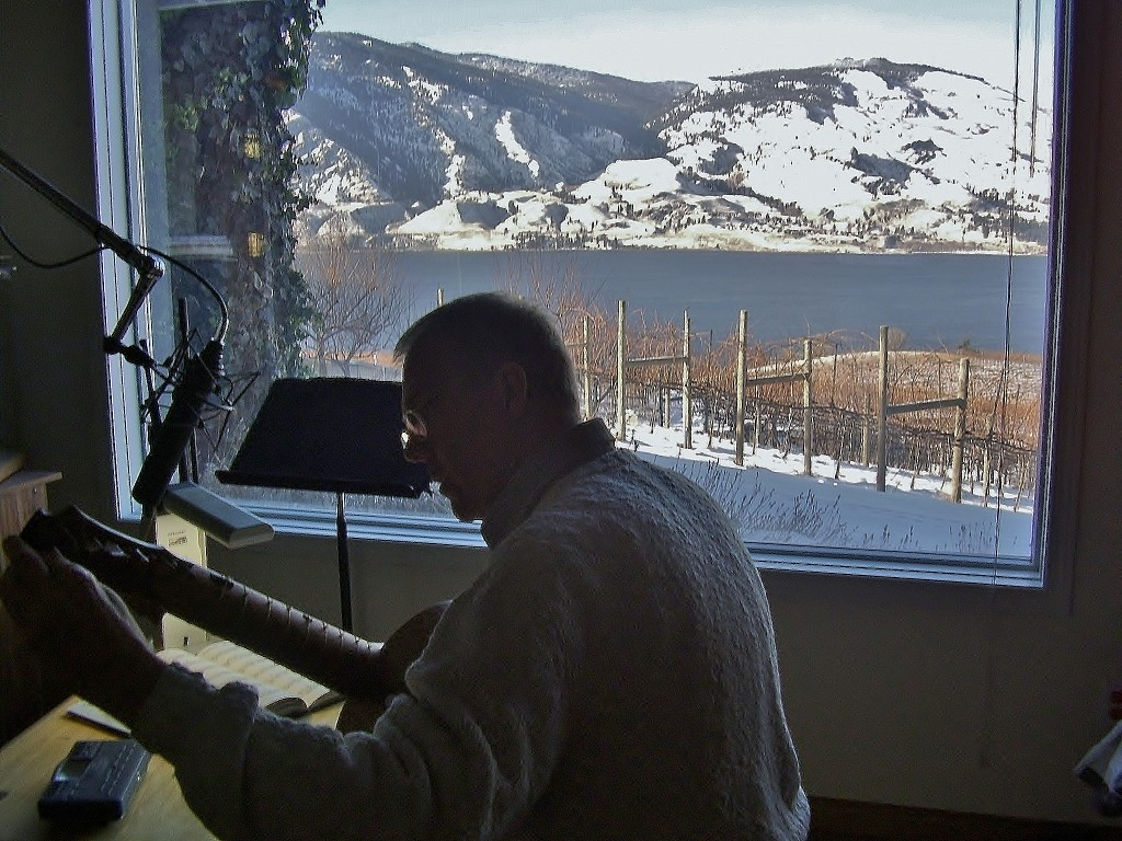 Recording vihuela music at Stu's vineyard studio in winter