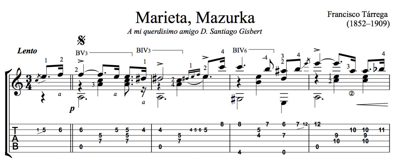 Marieta, Mazurka by Tárrega - Free PDF Sheet Music or TAB for