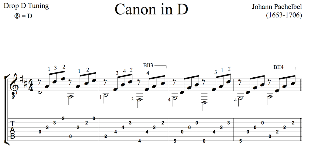 Pachelbelu0026#39;s Canon in D for Guitar (Free PDF) : this is classical guitar