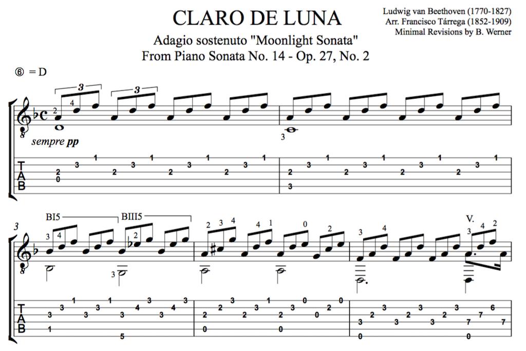 Beethovens Moonlight Sonata for Guitar Free PDF or Tab – Beethoven Worksheet