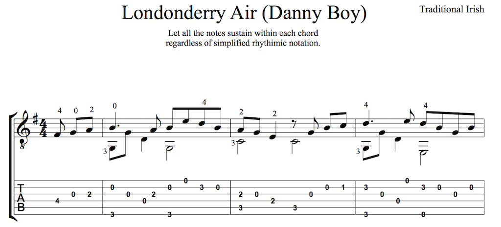 Danny Boy for Easy Guitar (PDF) : this is classical guitar