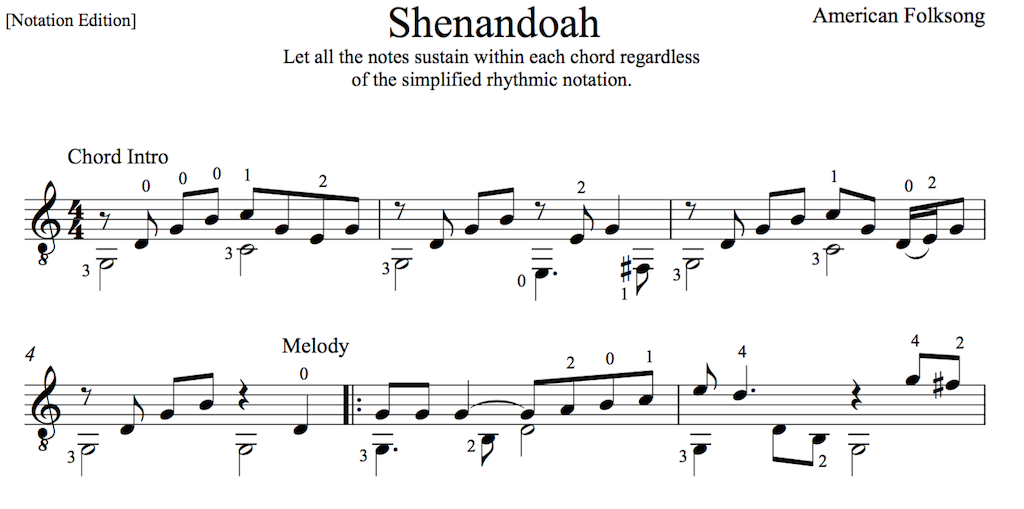 Oh Shenandoah for Easy Guitar - PDF Sheet Music and Tab ...