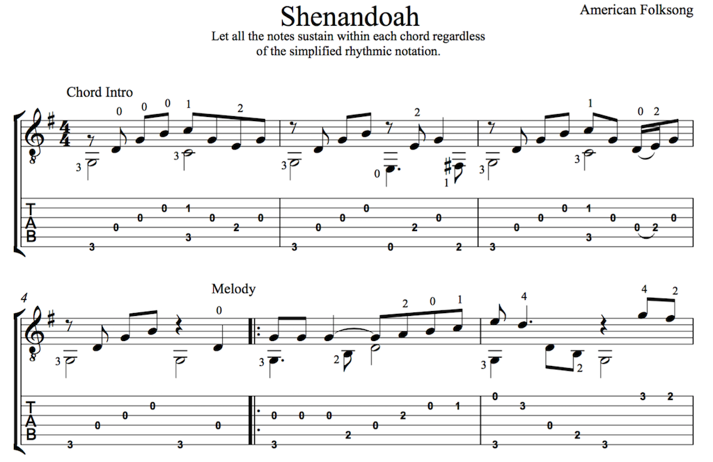 Oh Shenandoah for Easy Guitar (PDF) | this is classical guitar