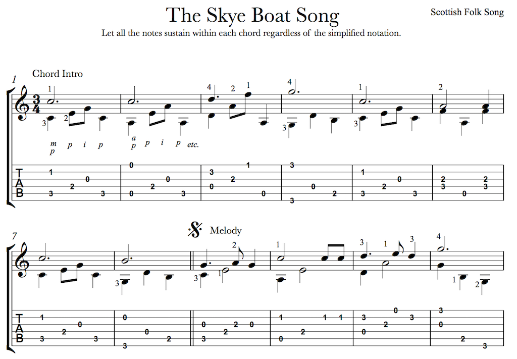 The Skye Boat Song Outlander Theme For Easy Guitar This Is