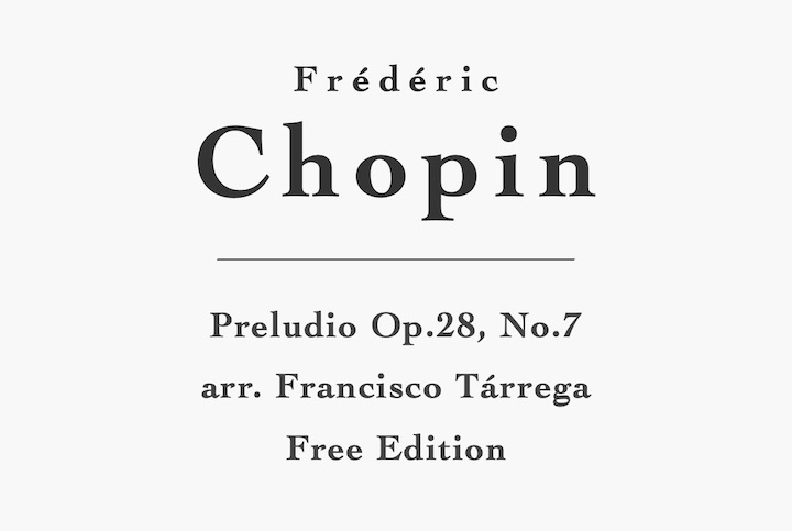 Preludio No.7, Op.28 by Chopin for Guitar - Free PDF Sheet Music or Tab