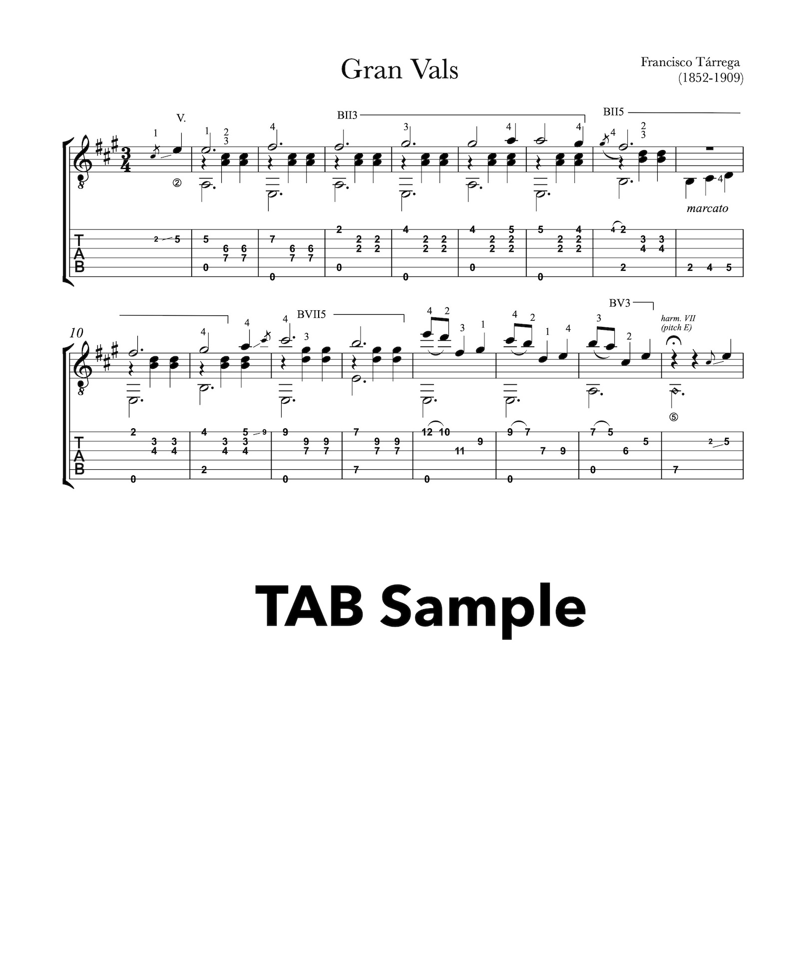 Gran Vals by Tarrega - PDF Tab Sample