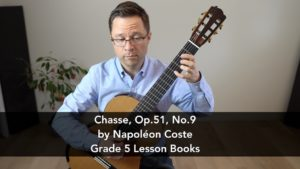 Chasse, Op.51, No.9 by Napoléon Coste (1805 – 1883) and lesson for classical guitar.