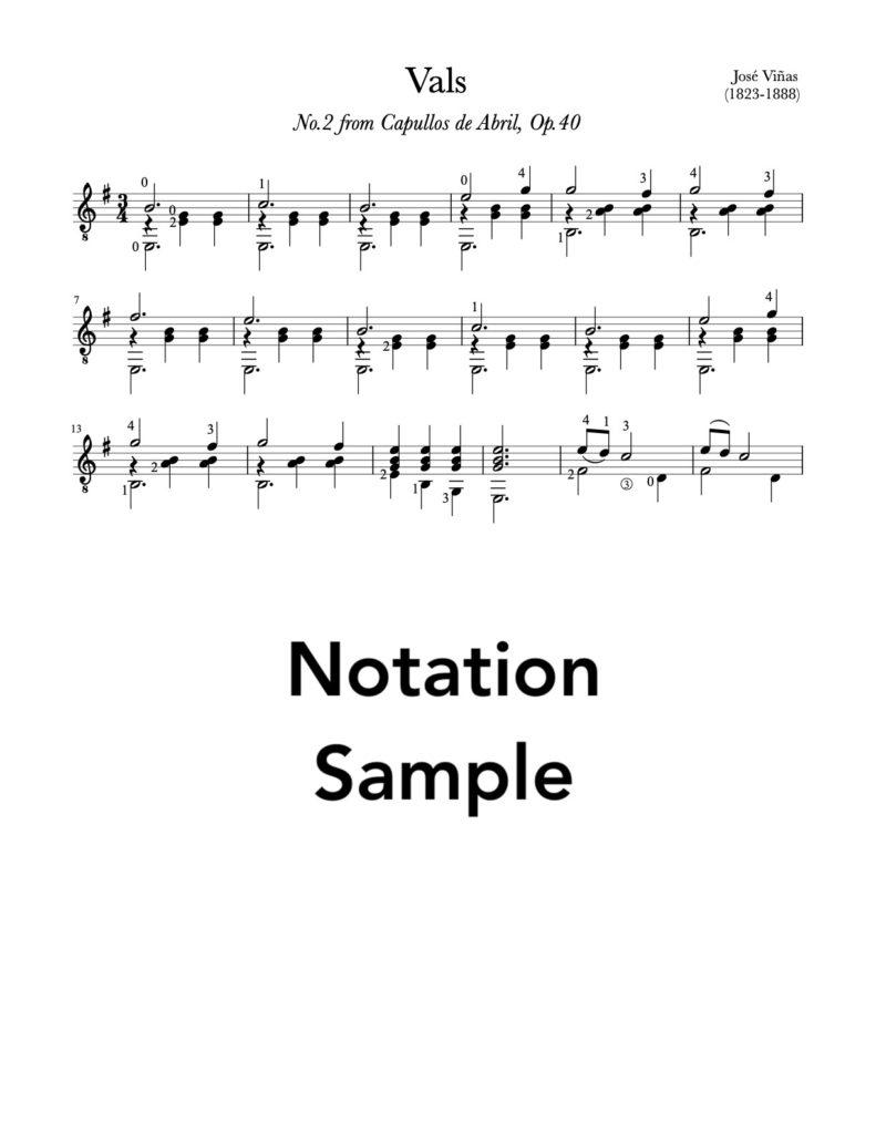 Vals, No.2, Op.40 by Vinas (Lesson, PDF)