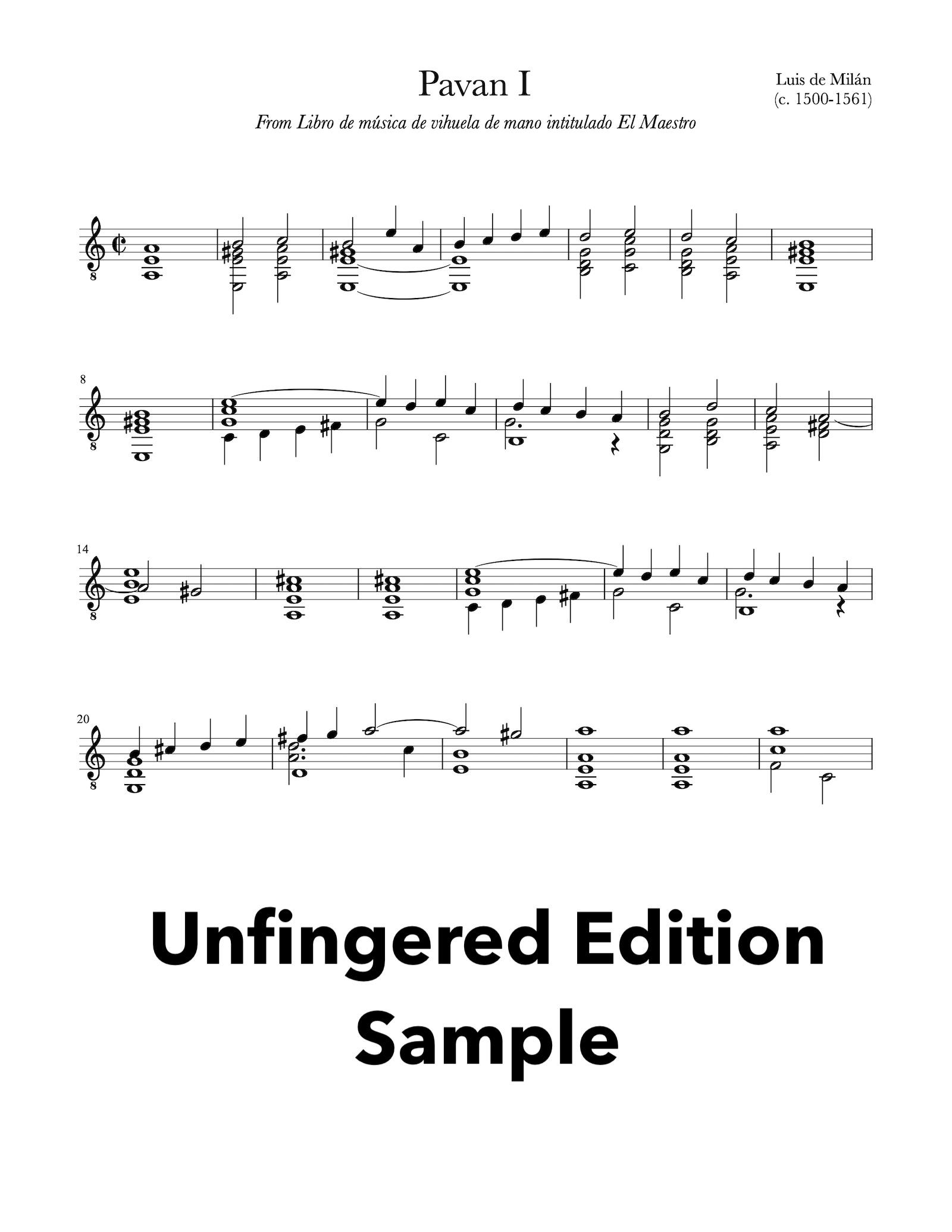 Six Pavans by Luis de Milán - Unfingered Sample