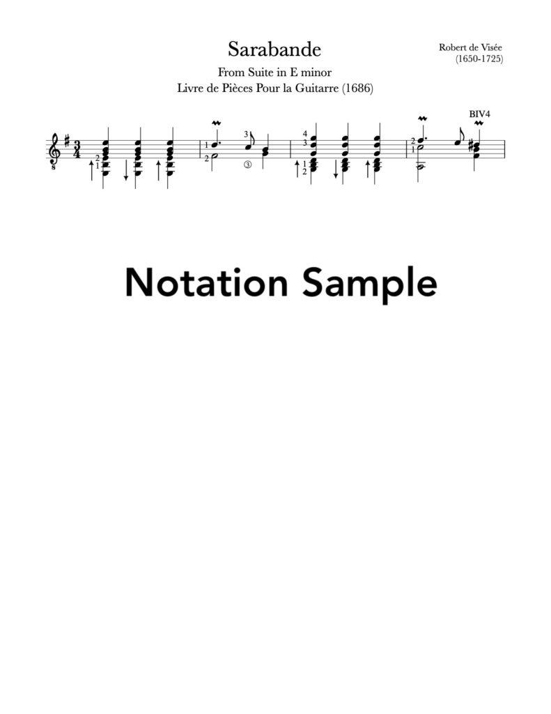 Sarabande in E Minor by Visée (Sample Notation)