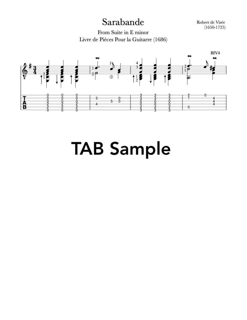 Sarabande in E Minor by Visée (Sample Tab)