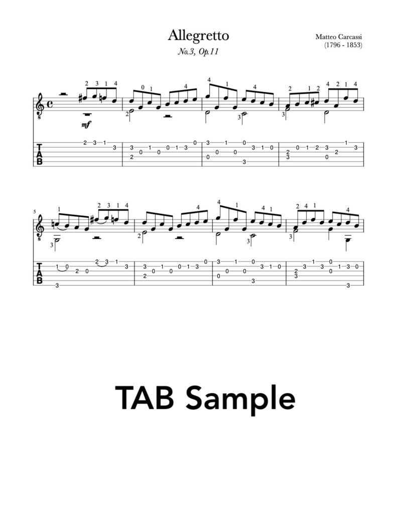 10 Petites Pièces, Op.11 by Carcassi (TAB Sample)