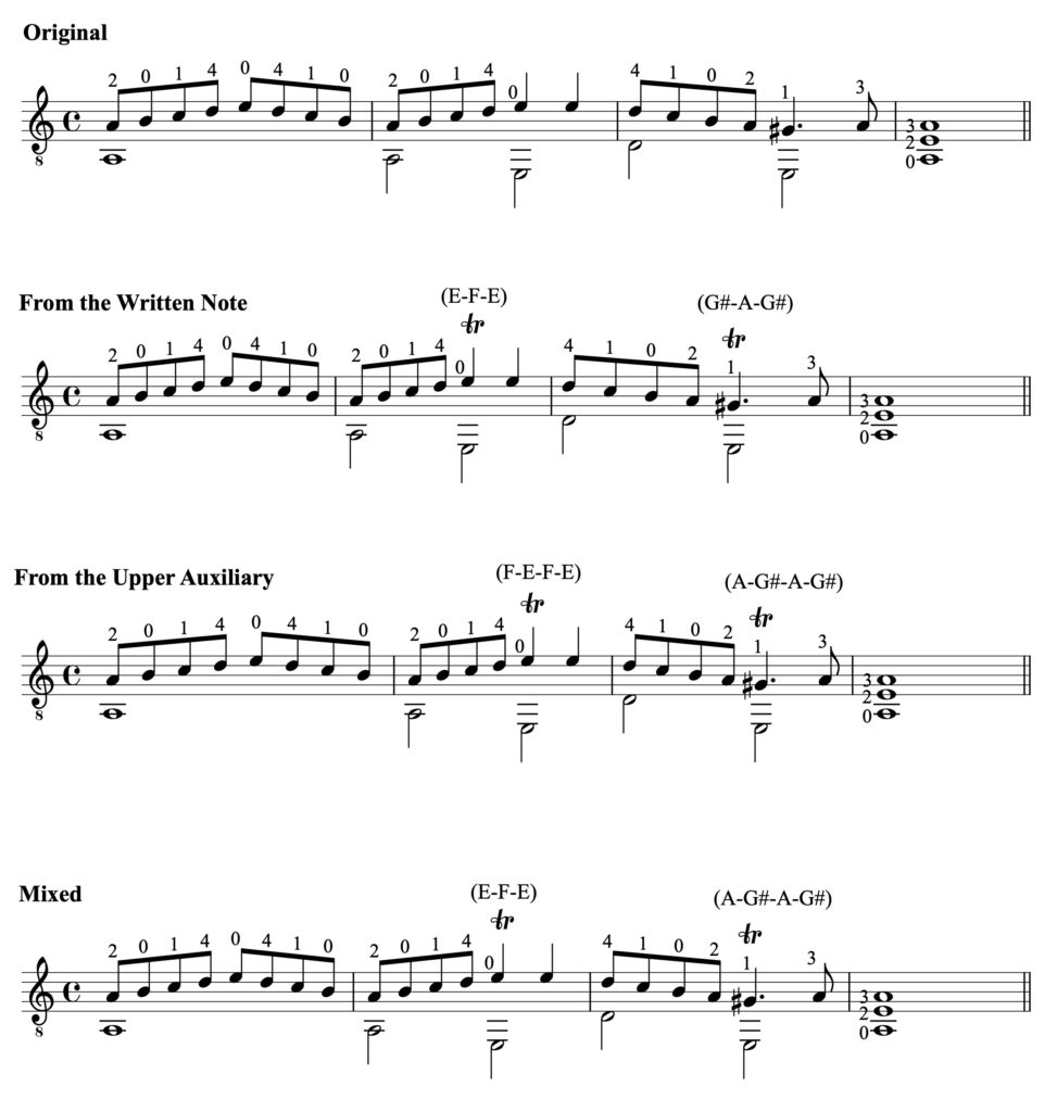 Trills with different starting notes