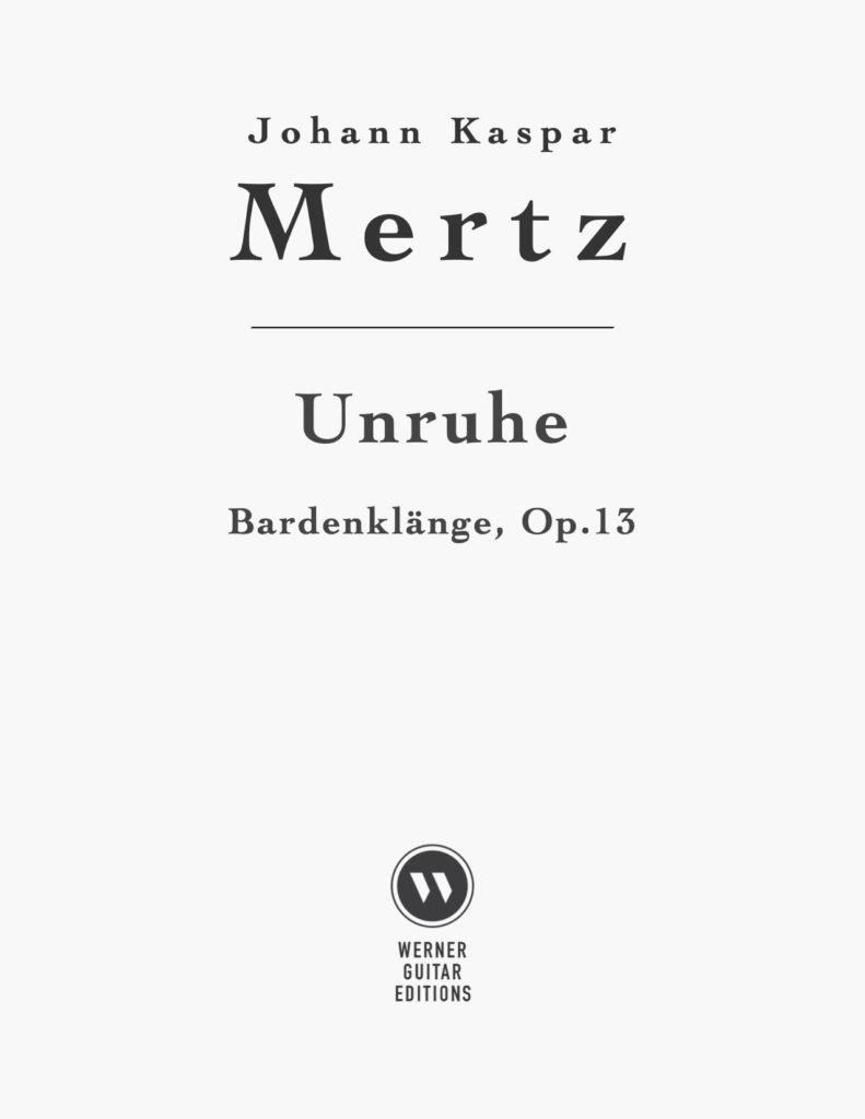 UnruhebyJohann Kaspar Mertz (PDF Sheet Music or Tab)